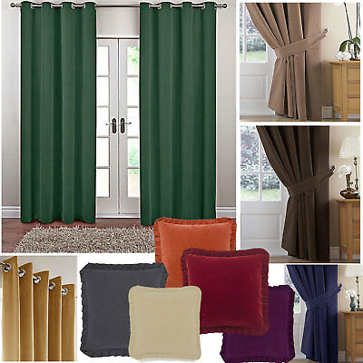 Velour Plain Dyed Eyelet Ring Top Curtains (Pair Of) Ready Made • 24£