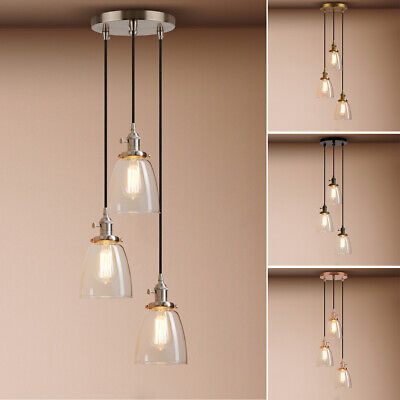 5.9-inch  3 Light  Cluster Pendant Light Cloche Glass Ceiling Lamp With Switches • 44.40£
