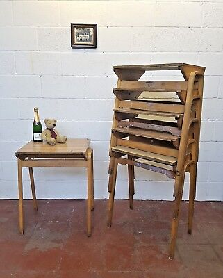 Vintage Old School Desk Stacking Retro  Restaurant  FREE MANCHESTER DELIVERY  • 39£