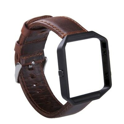 $ CDN32.43 • Buy Fitbit Blaze Band Genuine Leather Stainless Steel Frame Retro Cowhide Coffee New