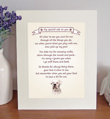Boxer Thank You FROM THE DOG Poem 8 X 10 Picture/10x8 Print Novelty Gift-No3 • 7.50£