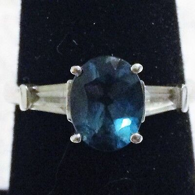 $ CDN31.72 • Buy Sterling Silver Aquamarine Colored Ring Size 7.75  2.6 Grams.