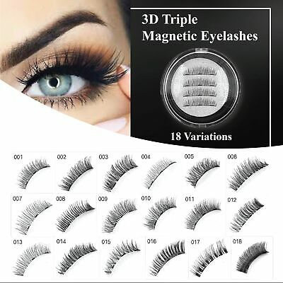 AU7.59 • Buy 3D Triple Magnetic Eyelashes 3D Handmade Reusable False Magnet Eye Lashes