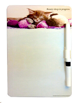 Cat & Dog A5 Magnetic Memo Board Message Note Kitchen Fridge With Drywipe Pen • 3.49£