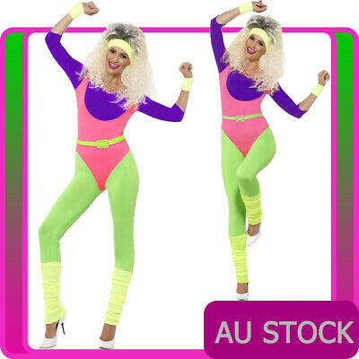 AU54.14 • Buy Ladies 80s Aerobics Workout Costume Retro Gym Work Out Physical Fitness Bodysuit