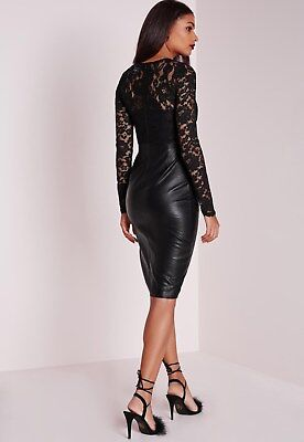 £21 • Buy Missguided - Faux Leather Lace Midi Dress Black - Women's Clothing - Dresses