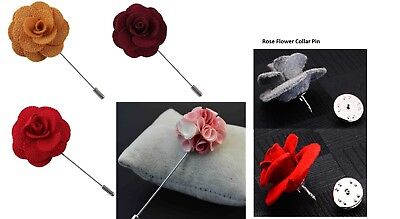 Men Rose Flower Lapel Pin, Handmade Brooch Boutonniere Suit Lapel Wedding Party  • 2.49£