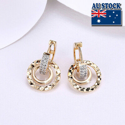 AU9.98 • Buy Elegant 18K Gold Filled CZ Crystal Circle Huggie Dangly Hoop Earrings