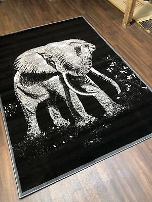 £29.99 • Buy NEW RUGS Approx 6x4FT 120x170cm STUNNING Black/Grey Top Quality Elephant Rugs
