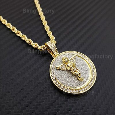 $10.92 • Buy Hip Hop Iced Baby Angel Medallion Pendant W/ 4mm 24  Rope Chain Fashion Necklace