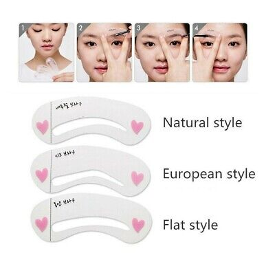 3styles/set Grooming Reusable Stencils Kit Shaping Beauty Eyebrow Drawing Guide • 1.49£