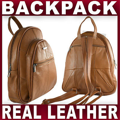 TAN REAL LEATHER BACKPACK Small Rucksack Travel Shoulder Bag GENTS WOMENS NEW • 17.95£