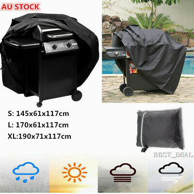 AU19.89 • Buy Outdoor Black Waterproof UV BBQ Cover For Barbecue Grill 2/4/6 Burner Anti Dust