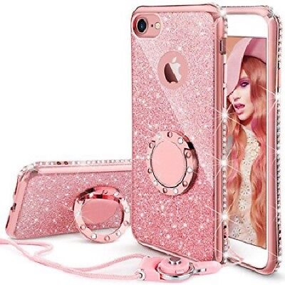 AU12.22 • Buy IPhone SE 2020/ 8/7 Case Glitter Cute Phone Case Girls With Ring Kickstand Pink