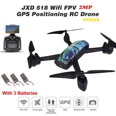 AU139.83 • Buy JXD 518 Wifi Drone GPS Track Control RC FPV HD Camera Altitude Hold +3 Batteries