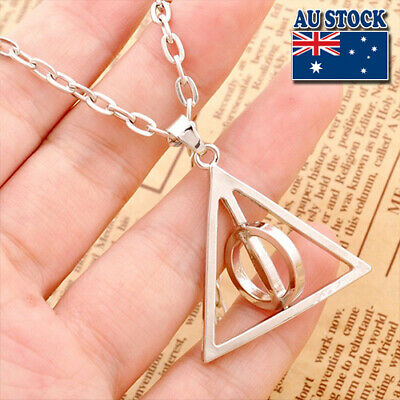 AU4.95 • Buy  Harry Potter Rotatable Deathly Hallows Pendant Chain Necklace