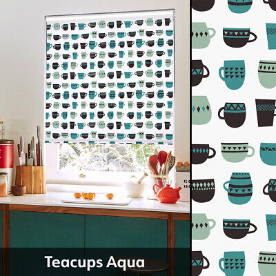 Scandi Style Kitchen Roller Blind - Patterned Blind With Handrawn Flowers • 40£