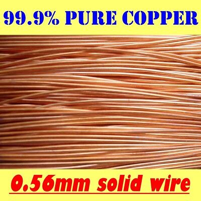 AU6 • Buy 10 METRES SOLID BRIGHT 99.9% PURE COPPER WIRE, 0.56mm = 24G SWG = 23G AWG