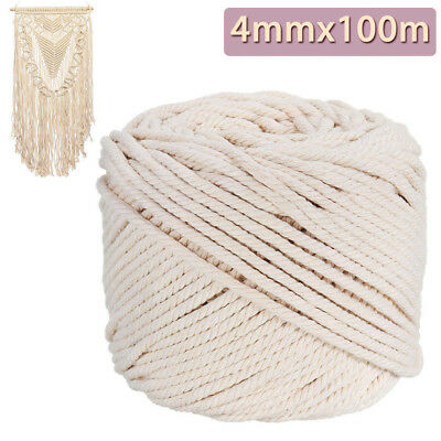 AU24.36 • Buy 4mm Macrame Rope Natural Beige Cotton Twisted Cord Artisan Hand Craft 100M AY
