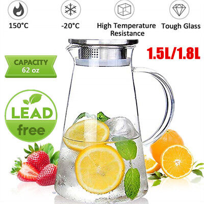 Glass Pitcher 1.8L Jug Water Juice Carafe Cocktail Tea With Stainless Steel Lid  • 9.99£