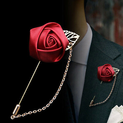 Exquisite Wedding RED Flower Corsage LAPEL Pin MEN Brooch Suits Stick Pins • 3.29£