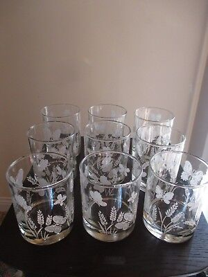 $40 • Buy Vintage Libby Glasses By M Dia Lot Of 9 Glass Tumblers Butterfly Butterflies