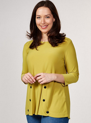 £49.99 • Buy Yong Kim Stretch Jersey Tunic With Button Detail Chartreuse 10