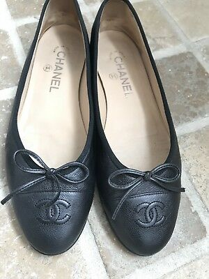 £450 • Buy CHANEL Black Grained Leather CC Ballet Flats Size 38 Great Condition