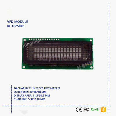 $34.78 • Buy New 16*2 Characters VFD Display Module Compatible With LCM1602 FUTABA M162SD07FA