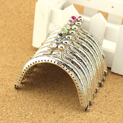 £2.69 • Buy 8.5 CM/ 3.35 Inch Silver Metal Frame Kiss Clasp For Handle Bag Purse#68