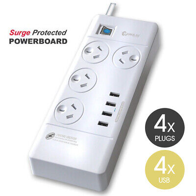 AU28.37 • Buy 4 USB Charger Ports Power Board 4 Way Outlets Socket With Surge Protector