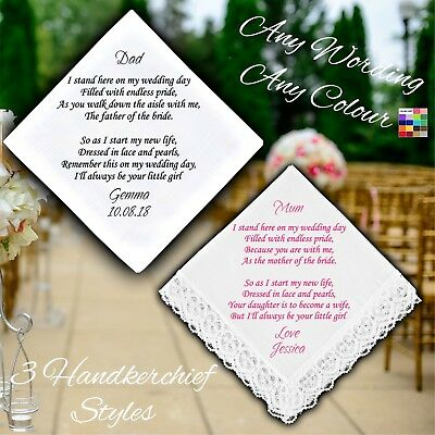 £9.99 • Buy Mother Or Father Of The Bride Personalised Handkerchief Favour Gift Wedding Poem