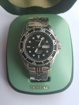 Seiko Kinetic 200m 5m63-0A10 Sapphlex Crystal Mens Watch With Box • 190$