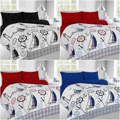 Modern Sailing Jake Nautical Print Design Duvet/quilt Cover Pillowcases Bedding • 7.99£