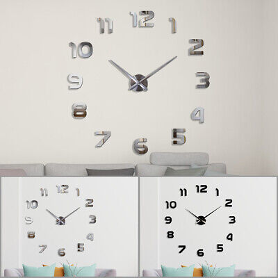£7.99 • Buy 120cm Large Number Wall Clock 3D Mirror Sticker Home Office Decor Art Decal