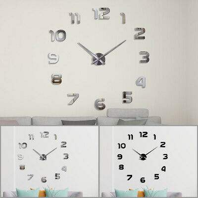 Large Number Wall Clock 3D Mirror Sticker Modern Home Office Decor Art Decal Hot • 8.59£