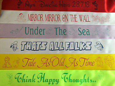 £3.25 • Buy Disney Themed Personalised Hen Party Birthday Sash, Single Or Double Sided Print