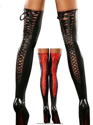 Leather Wet Look Fashion Color Tied Band Stockings Tights Garter, UK Size: S-XXL • 9.99£