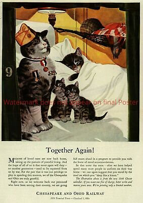 $7.50 • Buy WWII Poster Cat Together Again US Army Chessie Peake Print Nice WW2 Military War
