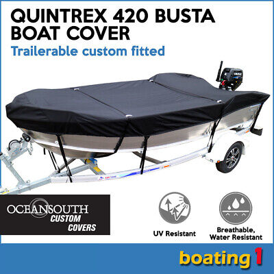AU149 • Buy Quintrex 420 BUSTA Trailerable Custom Fitted Boat Cover Open Boat Black