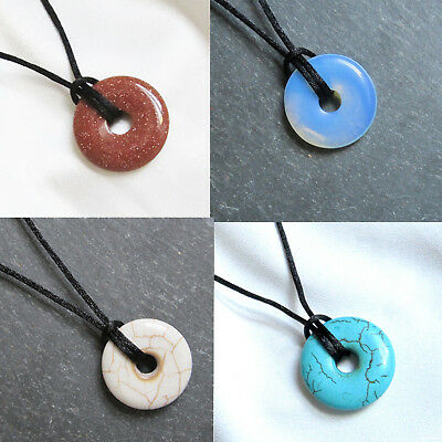 Small Round Stone DONUT BEAD PENDANT & Silky Cord Necklace - Choice Of Colours • 3.95£