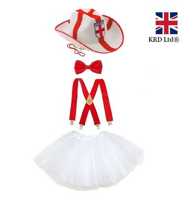 £2.85 • Buy ENGLAND ST GEORGE FLAG TUTU COSTUME World Cup Party Fancy Dress Accessory Lot UK