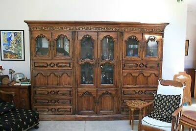 $2300 • Buy Mahogany Crystal Hutch And Bookcase Combo With Two Leather Fold Down Desks