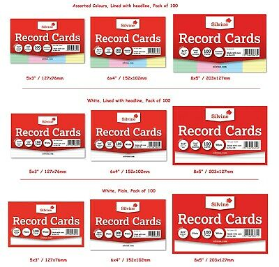 £2.79 • Buy Silvine Record Cards Revision/Flash/Index/White/Ruled/Coloured FOR School/office