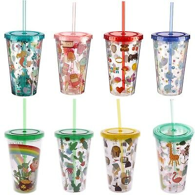 £9.97 • Buy Double Walled Plastic Cup With Lid And Straw 500ml Travel Cold Drinks Insulated