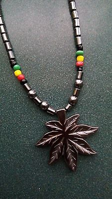 $14 • Buy Jamaican Rasta Hematite Beads Maple Leaf Weed Pot Leaf Pendant Necklace