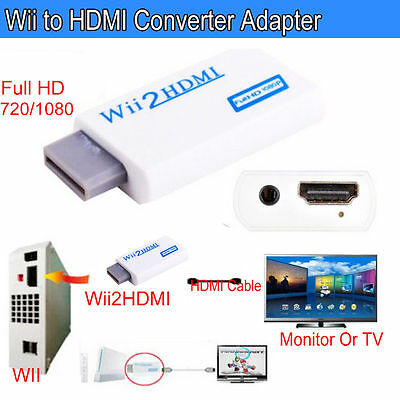 Wii Input To HDMI 1080P HD Audio Output Converter Adaptor Cable 3.5mm Jack Black • 19.99£