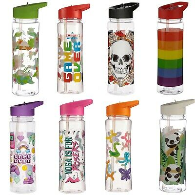 Funky Design 500ml Bottle - With Straw Water Drinks Sports Yoga Travel Plastic • 9.37£