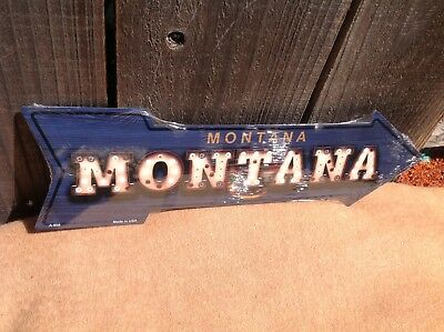 Montana State Flag This Way To Arrow Sign Directional Novelty Metal 17  X 5  • 13.95$
