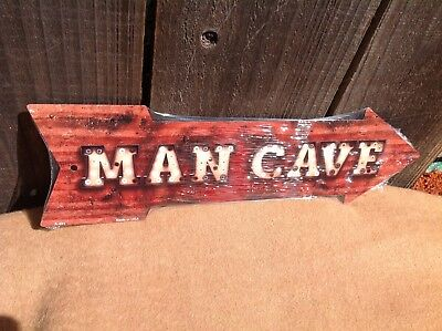 Man Cave This Way To Arrow Sign Directional Novelty Metal 17  X 5  • 13.95$
